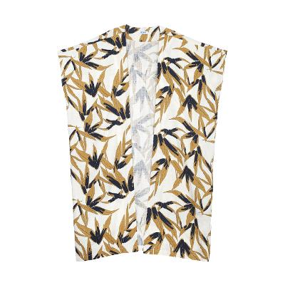 leaf pattern tunic robe white